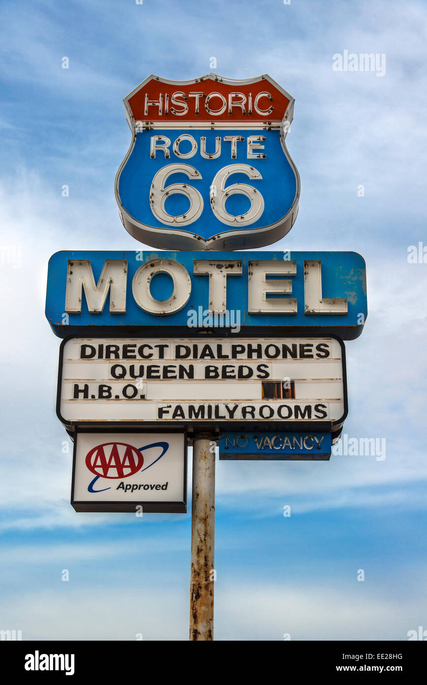 Vintage motel sign along the historic U.S. Route 66, Seligman, Arizona, USA - Stock Image