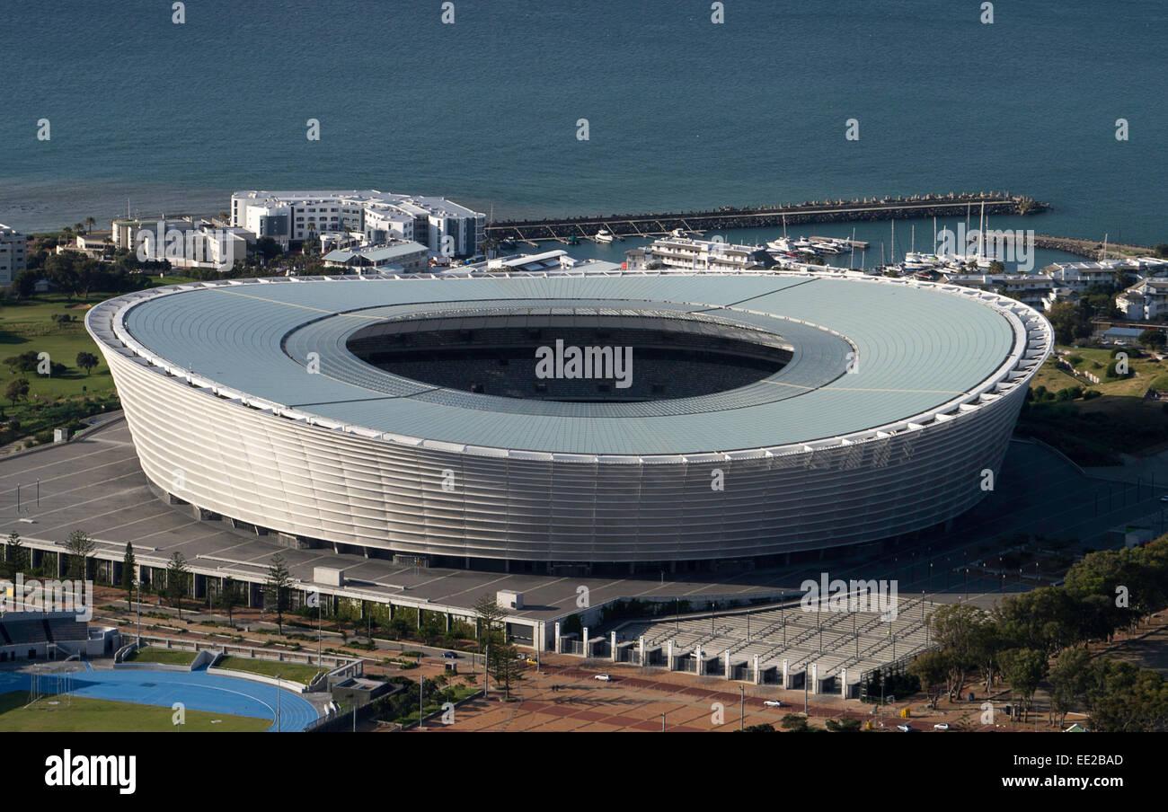 Cape Town Stadium,South Africa, (Afrikaans: Kaapstad-stadion; Xhosa: Inkundla yezemidlalo yaseKapa) viewed from - Stock Image