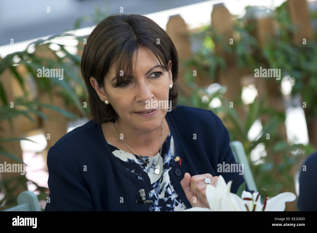 Mayor of Paris Anne Hidalgo attends a press conference at the French Institute of Madrid during her official visit Stock Photo