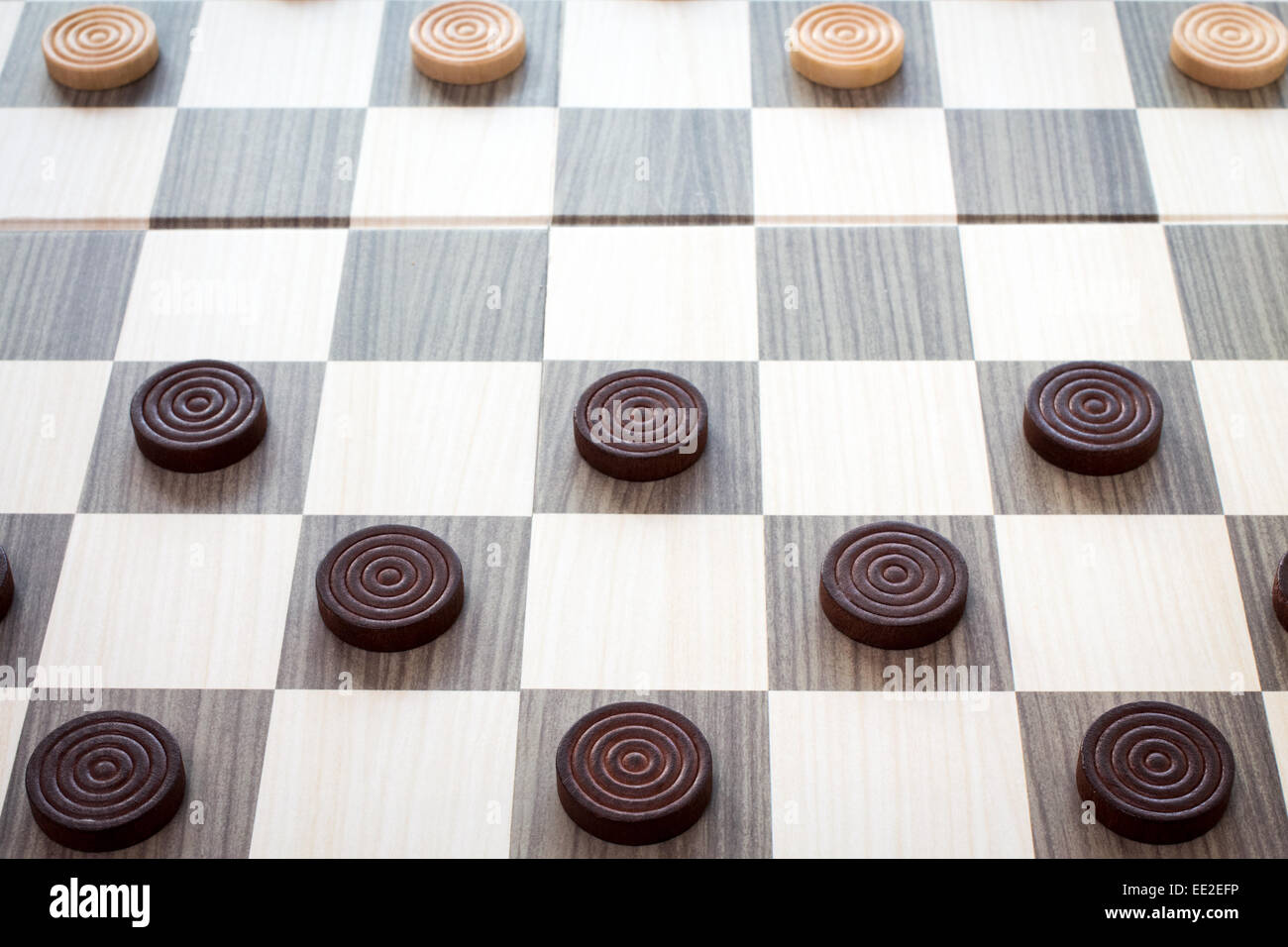 Detailed photo of the checkers board game Stock Photo