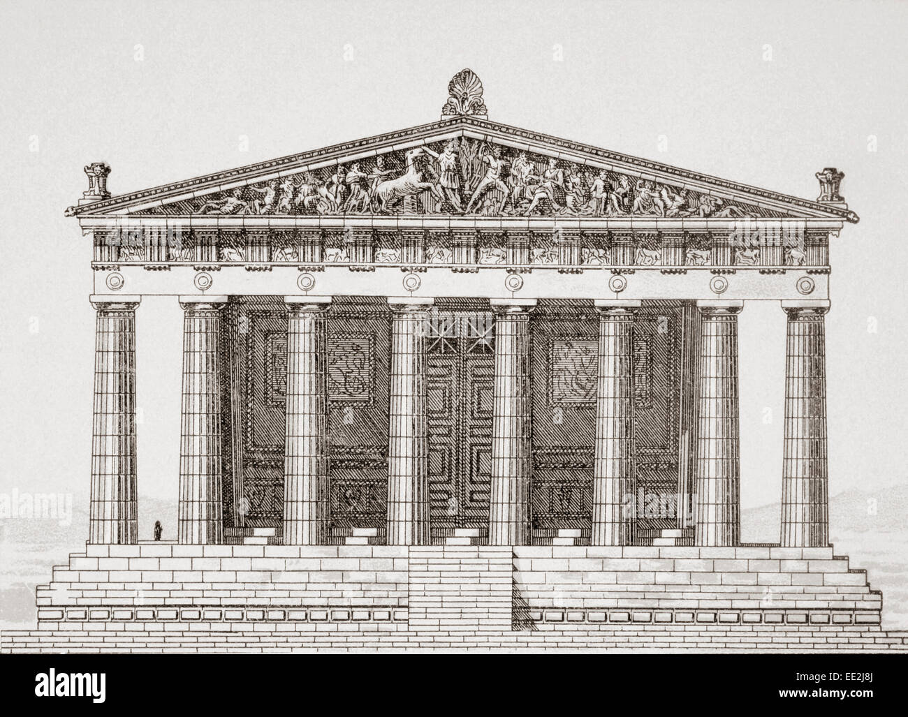 Reconstruction drawing of the Parthenon temple in
