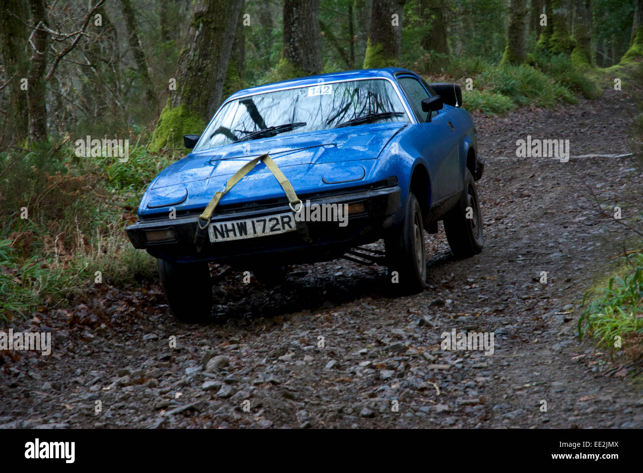 Car competitors on the Fingle Section of the 2015 Exeter Trial. Stock Photo
