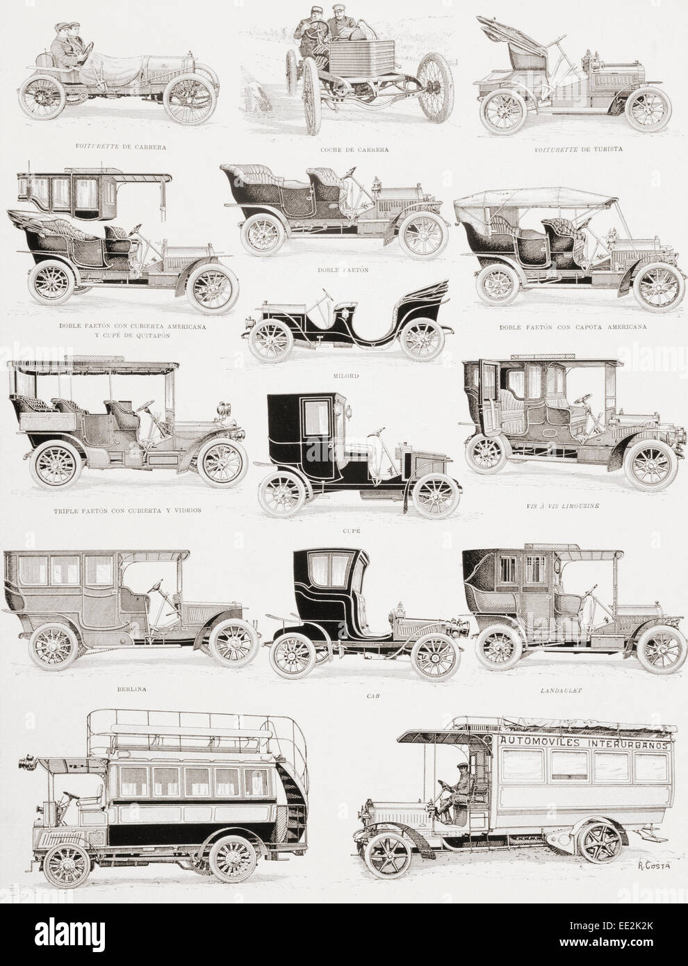 Motor cars and buses from the first decade of the 20th century.  Captions in Spanish language. - Stock Image