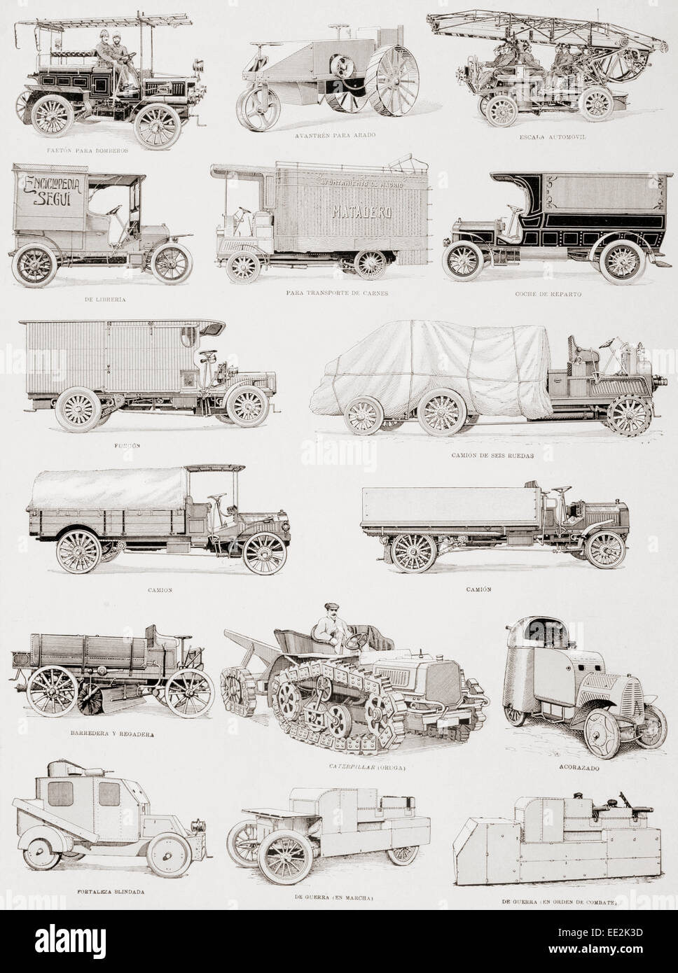 Trucks, fire brigades and military vehicles from the first decade of the 20th century.  Captions in Spanish language. - Stock Image