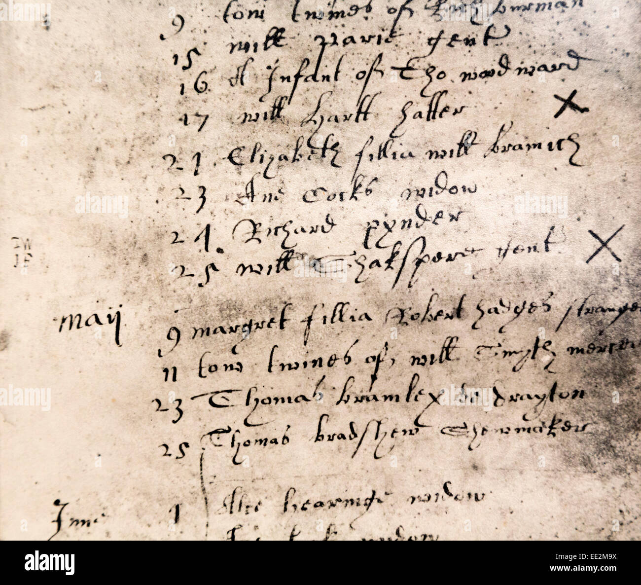 Stratford-upon-Avon, Warwickshire, England.  Facsimile register entry for burial of William Shakespeare on April - Stock Image