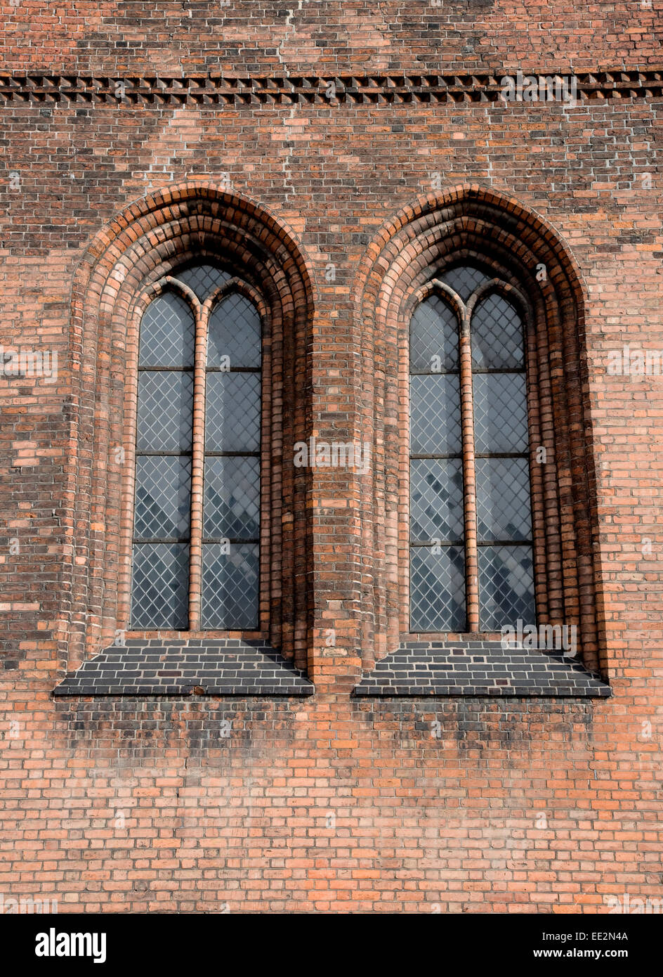 Leaded windows at the Cathedral at Aarhus, Denmark - Stock Image