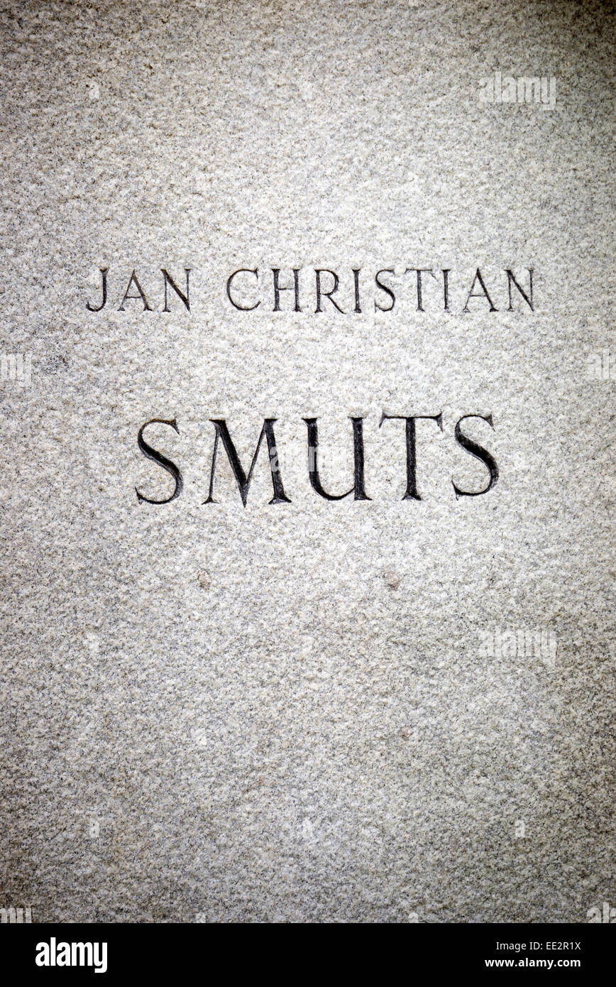 The engraved name on the base of the statue of Jan Smuts in The Company's Garden in Cape Town, South Africa. - Stock Image