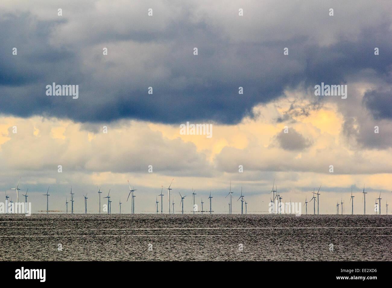 Off shore wind farm in the north sea, off the coast of Sweden. - Stock Image