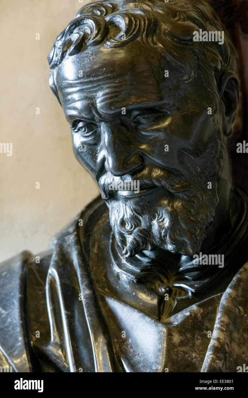 Rome, Italy.  Bust of Michelangelo Buonarroti after a work by Daniele da Volterra in the Capitoline Museum. - Stock Image