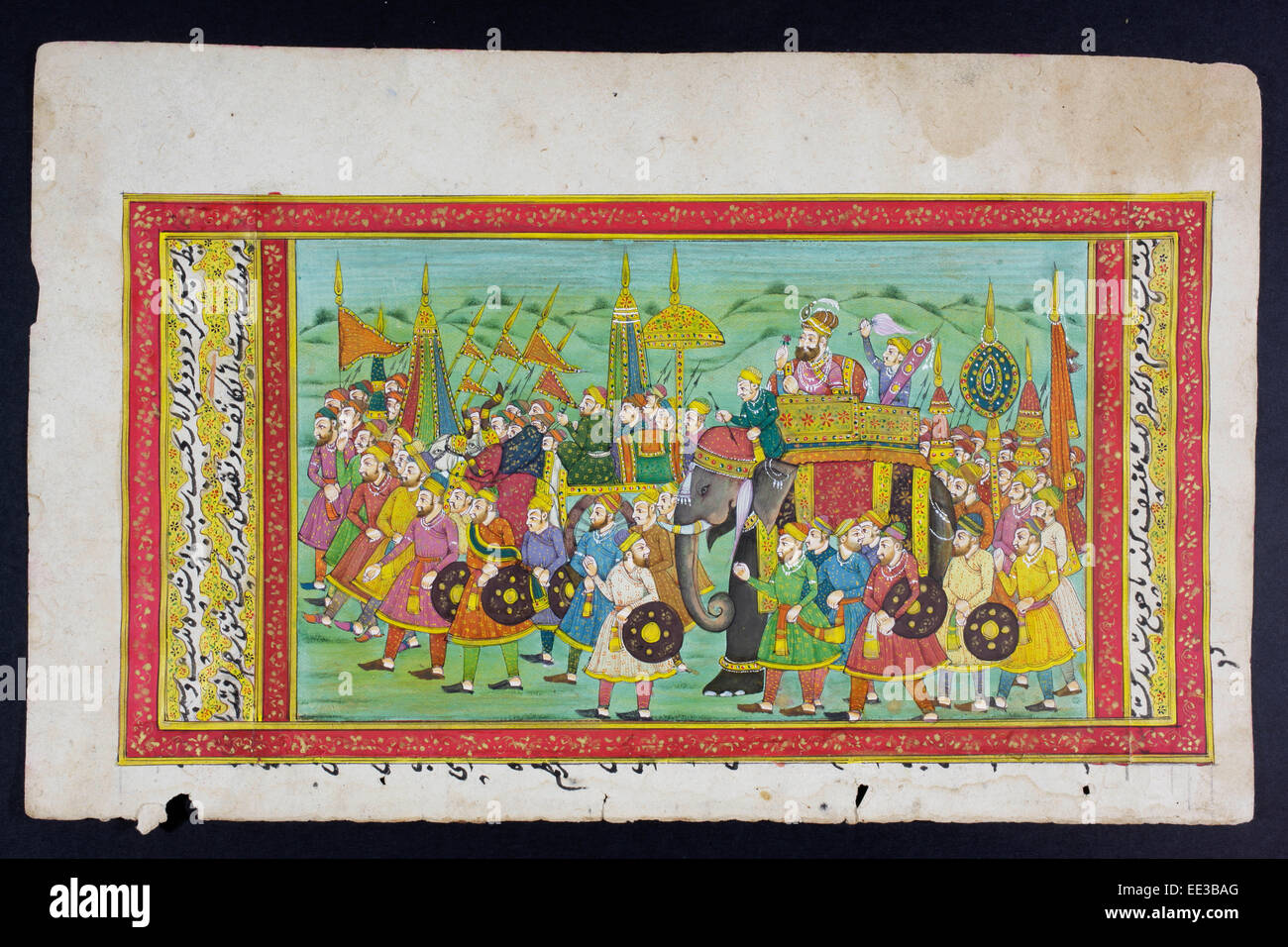 Rajasthani miniature painting from Rajasthan, India.  Probably late 19th century or early 20th century. - Stock Image