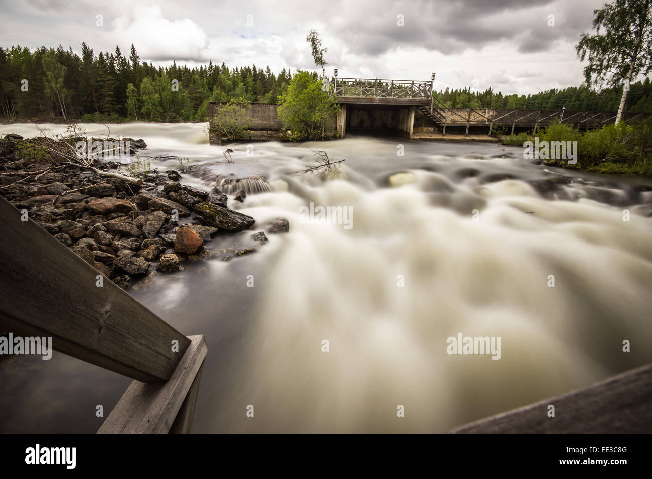 Raging River in Northern Sweden - Stock Image