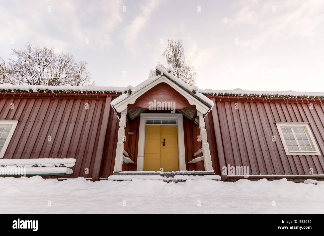 Traditional Swedish Farm House in Winter Stock Photo