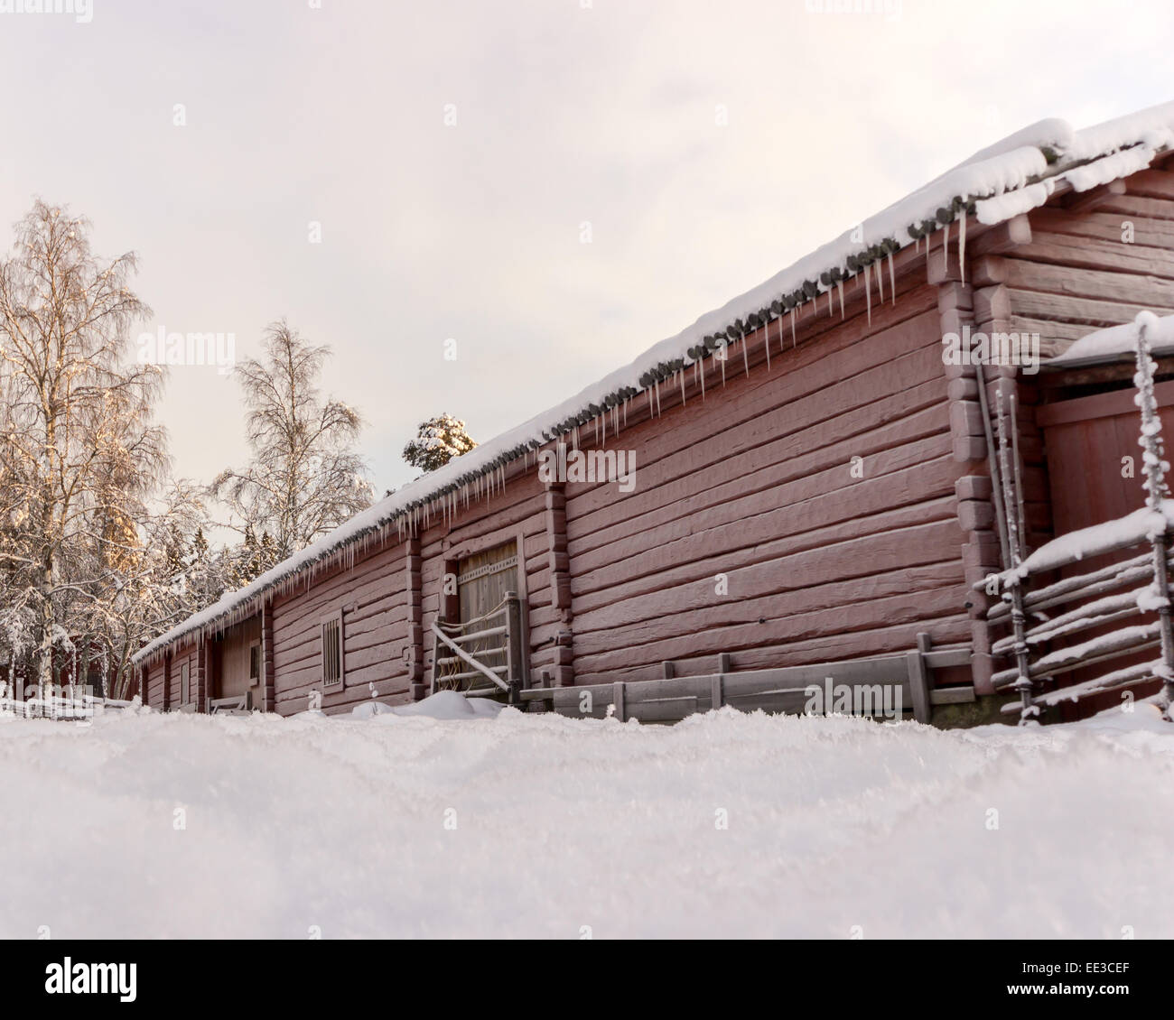 Swedish Old Farm House in Winter - Stock Image