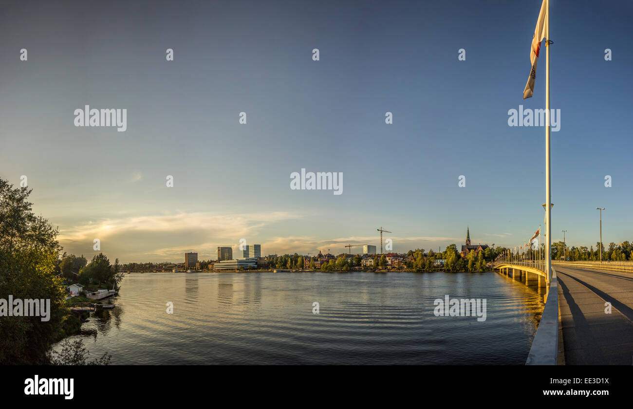 River and City of Northern Sweden - Stock Image