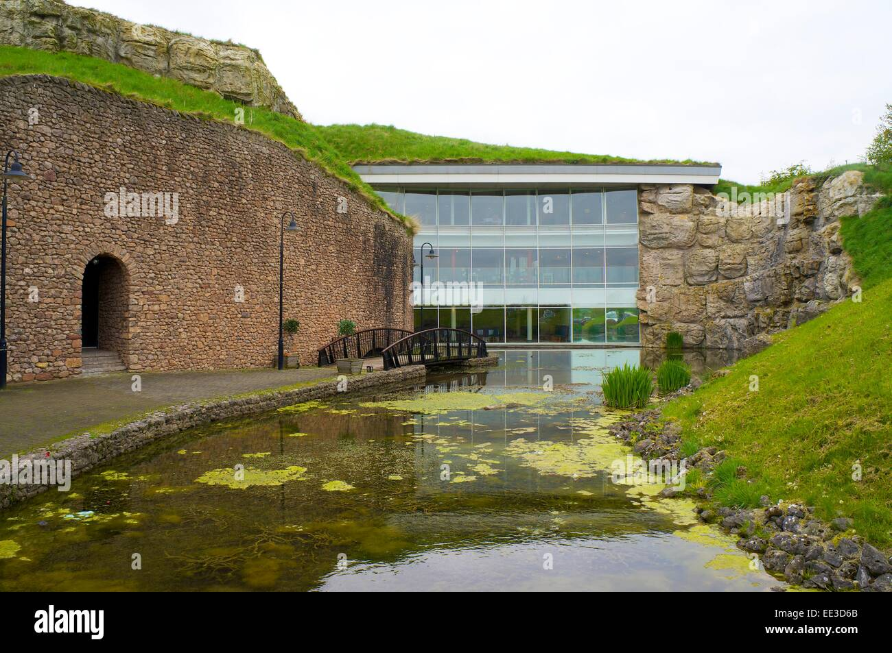 Rheged lakeland heritage centre's glass wall, Penrith, Eden Valley, Cumbria, England, UK. - Stock Image