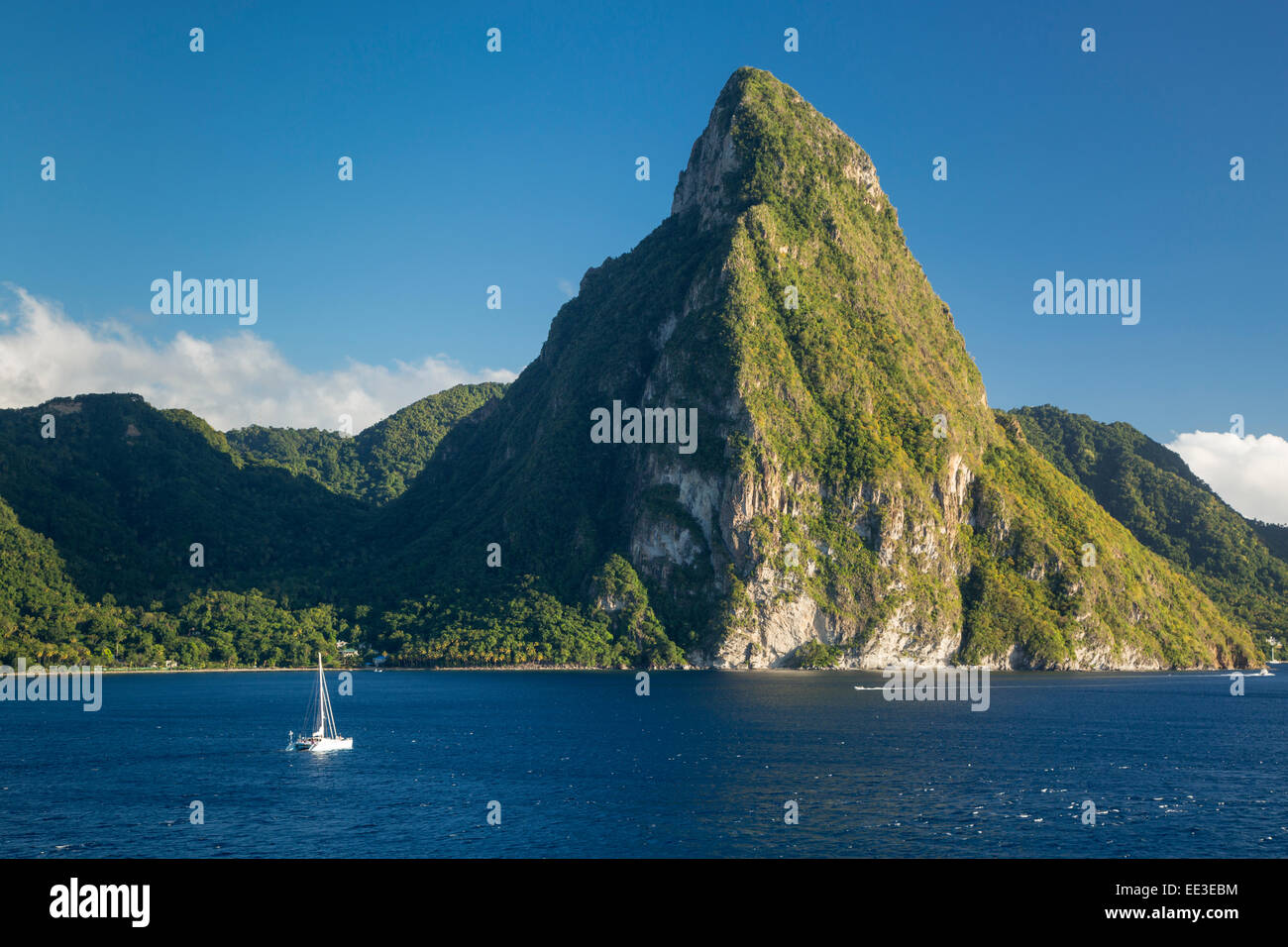 Petite Piton near Soufriere, St Lucia, West Indies - Stock Image