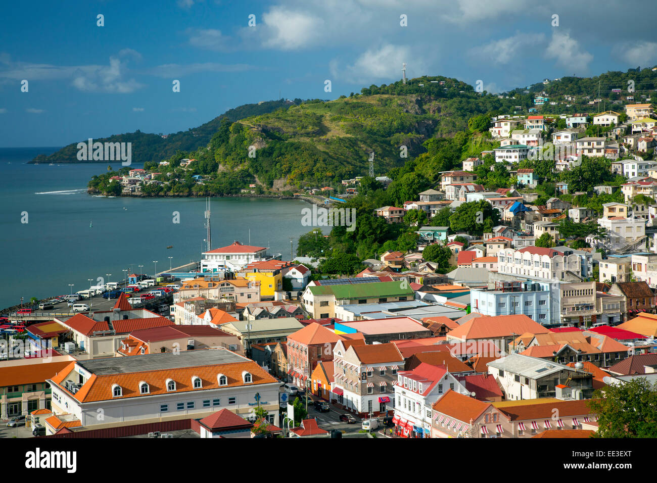 View over Saint Georges, Grenada, West Indies - Stock Image