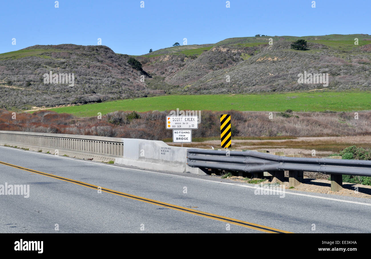 Scott Creek bridge, California Highway 1 north of Santa Cruz - Stock Image