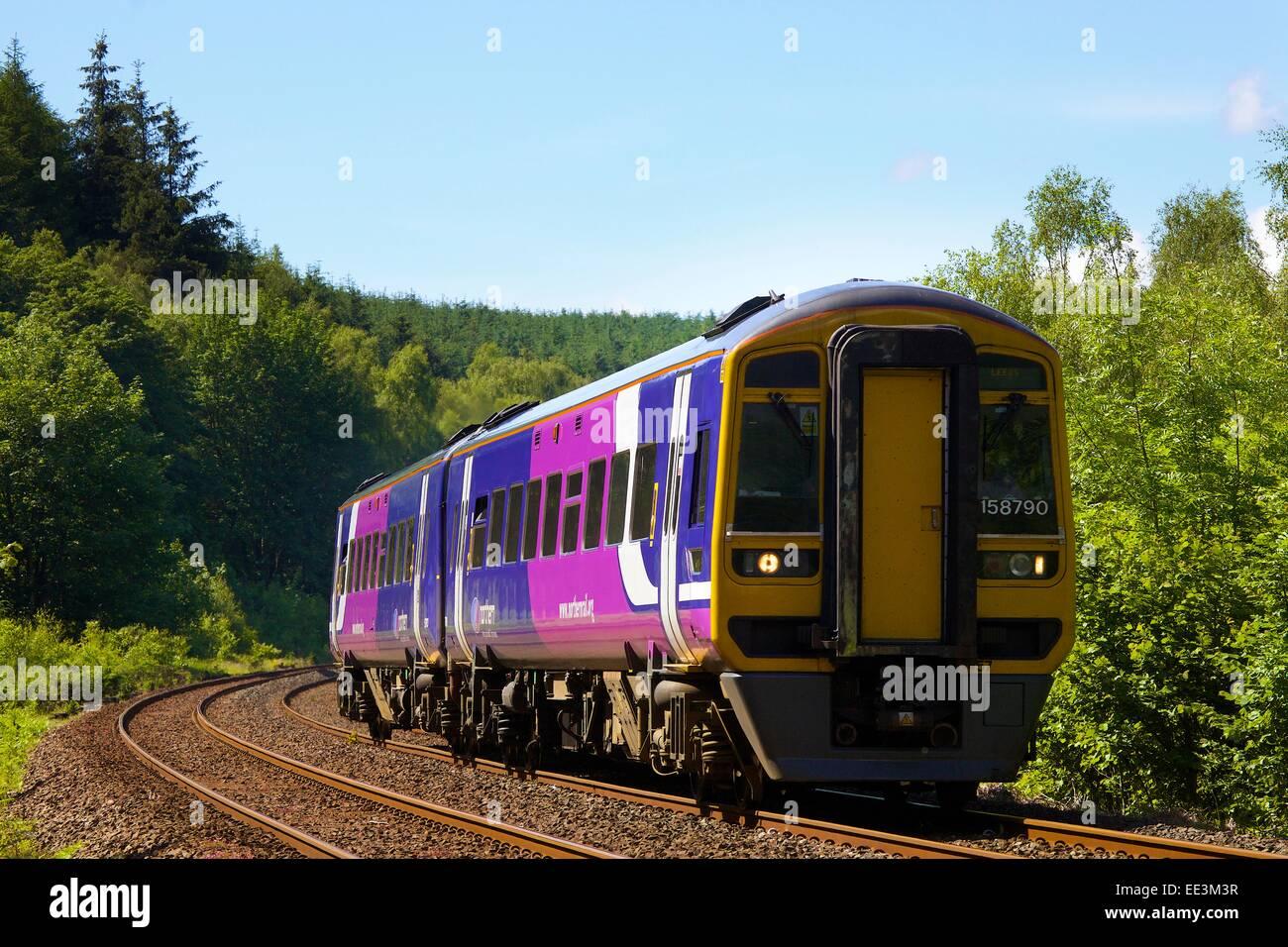 Northern Rail Sprinter train, near Lazonby, Carlisle, Eden Valley, Settle to Carlisle Railway Line, Cumbria, England, - Stock Image