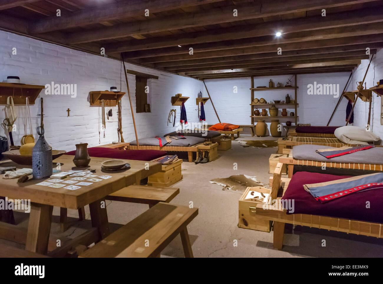 Interior of Sonoma Barracks, Sonoma State Historic Park, Sonoma, California, USA - Stock Image