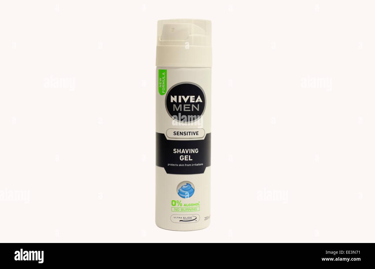 close up of nivea Men Shaving gel - Stock Image