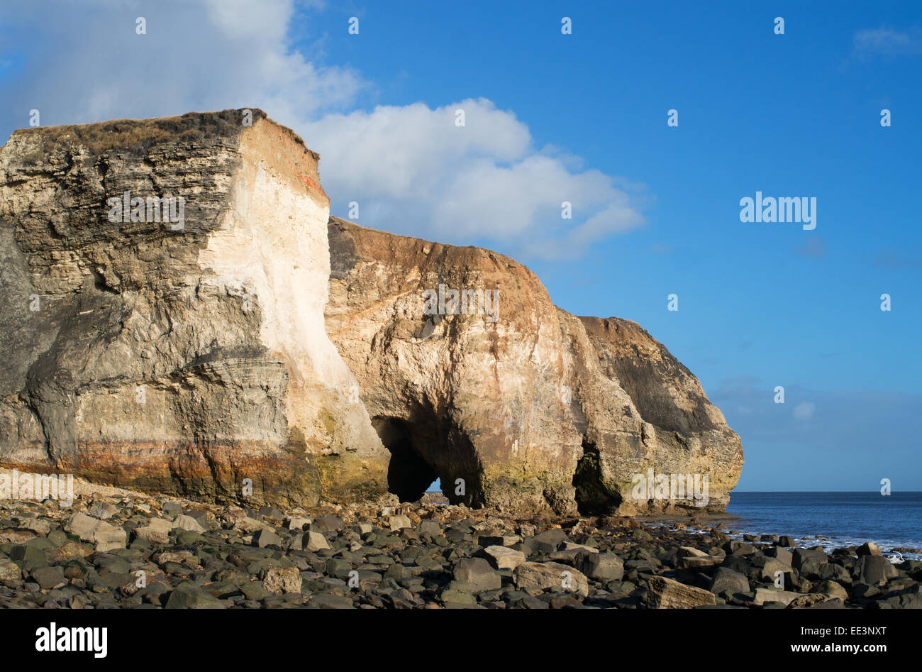 Magnesium or magnesian limestone cliffs and caves at Nose's Point, Seaham, north east England, UK - Stock Image