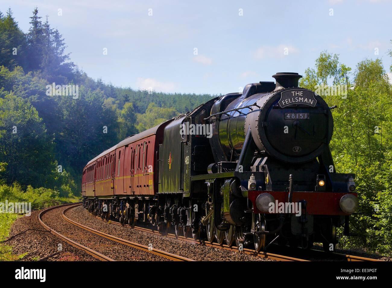 LMS Stanier Class 8F 48151, steam train near Lazonby, Eden Valley, Settle to Carlisle Railway Line, Cumbria, England, - Stock Image