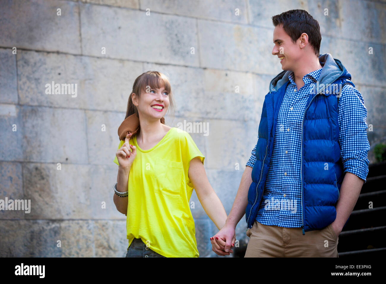 Young couple holding hands Munich, Bavaria, Germany Stock Photo