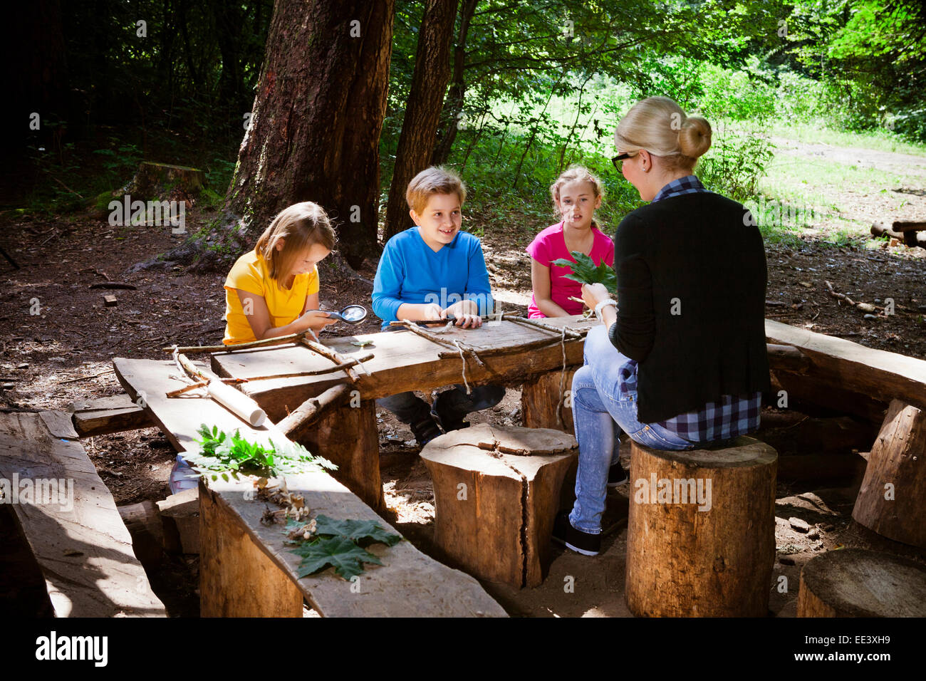 Children and teacher crafting in forest camp, Munich, Bavaria, Germany Stock Photo