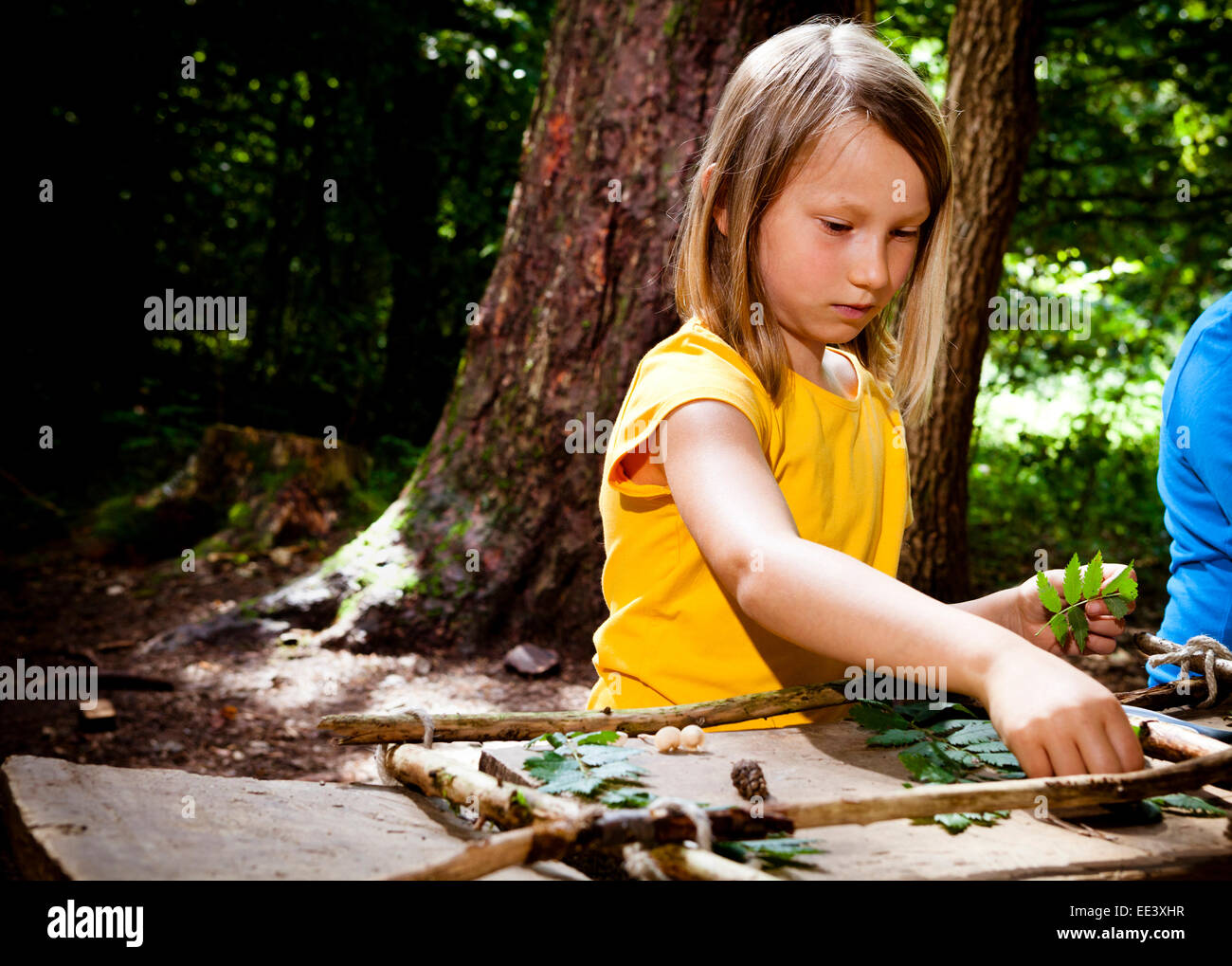 Schoolgirl crafting in a forest camp, Munich, Bavaria, Germany - Stock Image