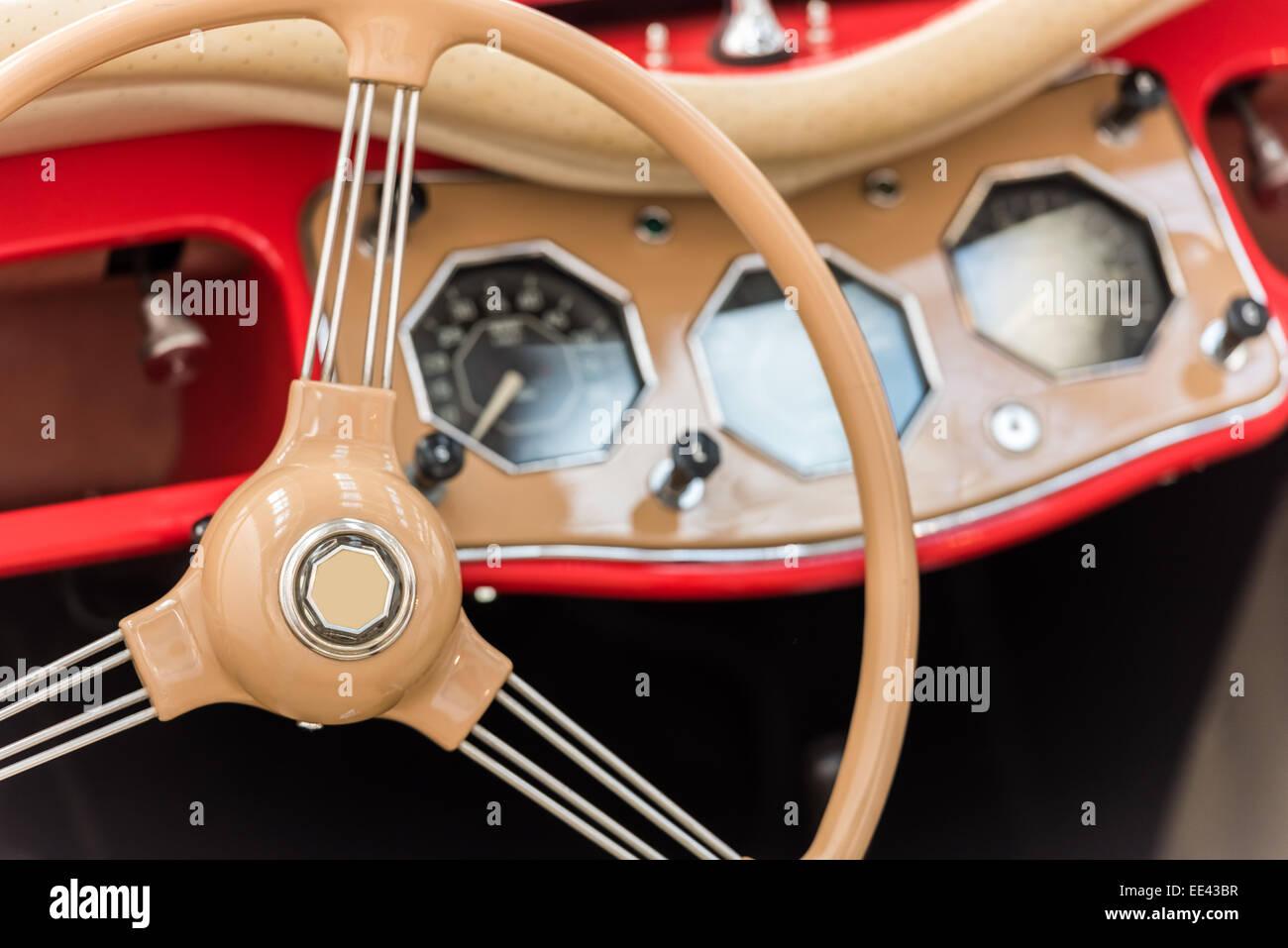 Vintage Car Interior With Retro Dashboard Stock Photo 77537147 Alamy