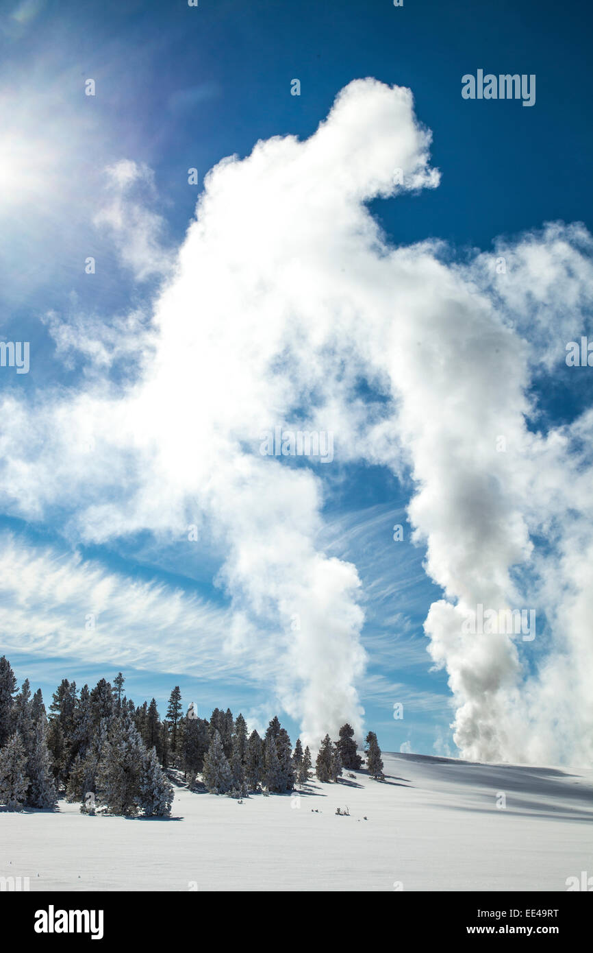 Old Faithful During Winter In Yellowstone National Park
