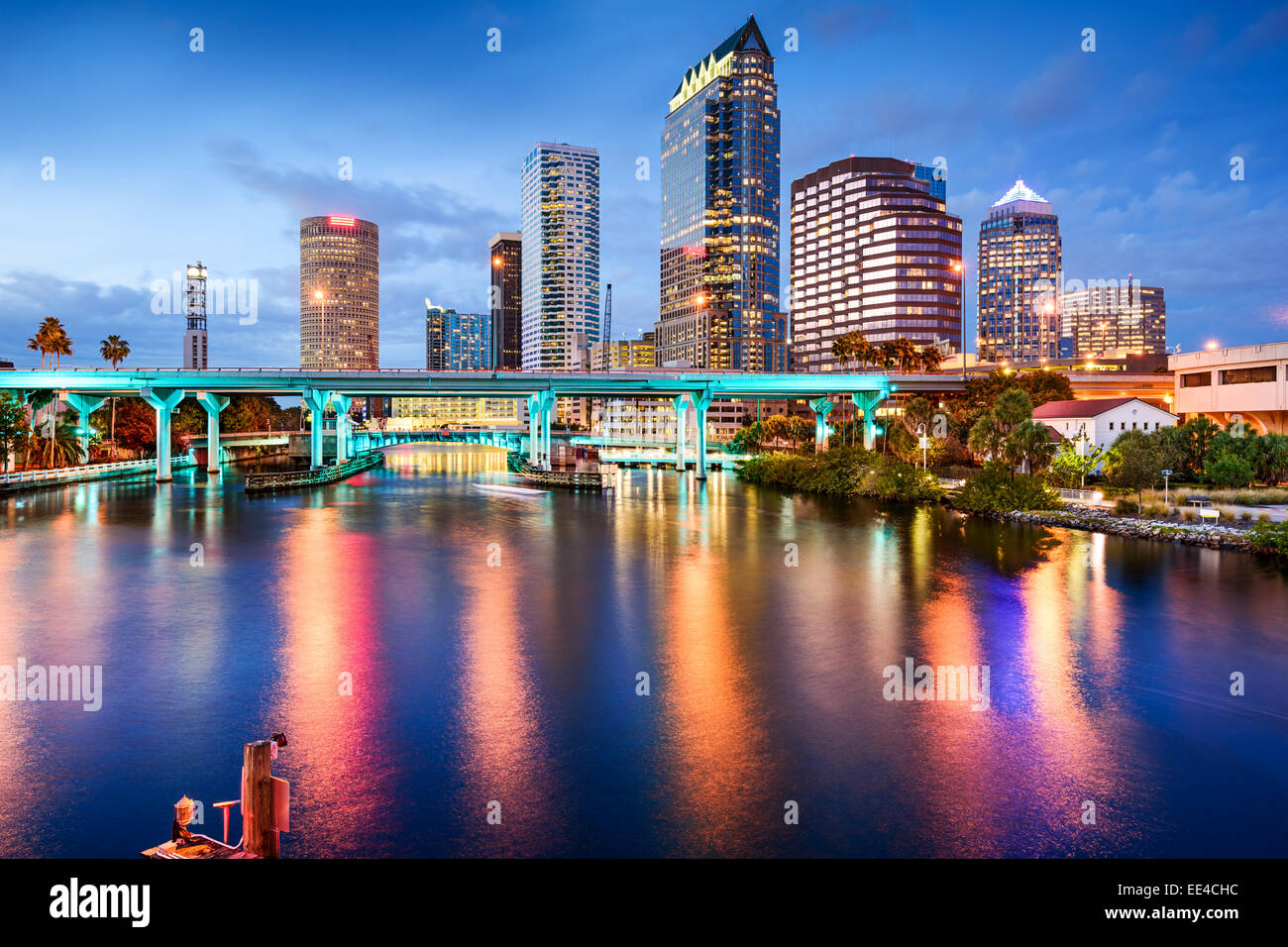 Tampa, Florida, USA downtown city skyline over the Hillsborough River. - Stock Image