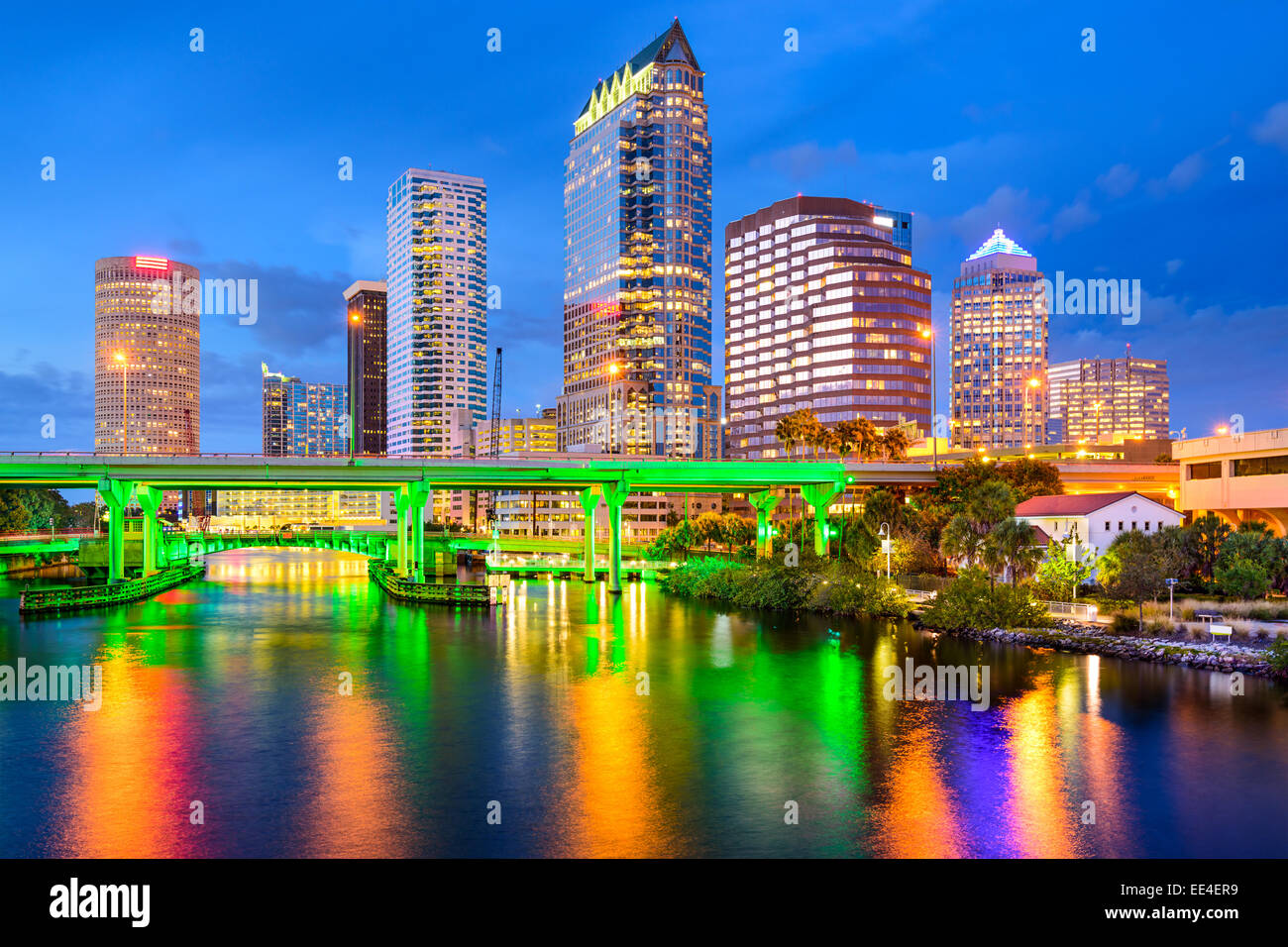 Tampa, Florida, USA downtown city skyline on the Hillsborough River. - Stock Image
