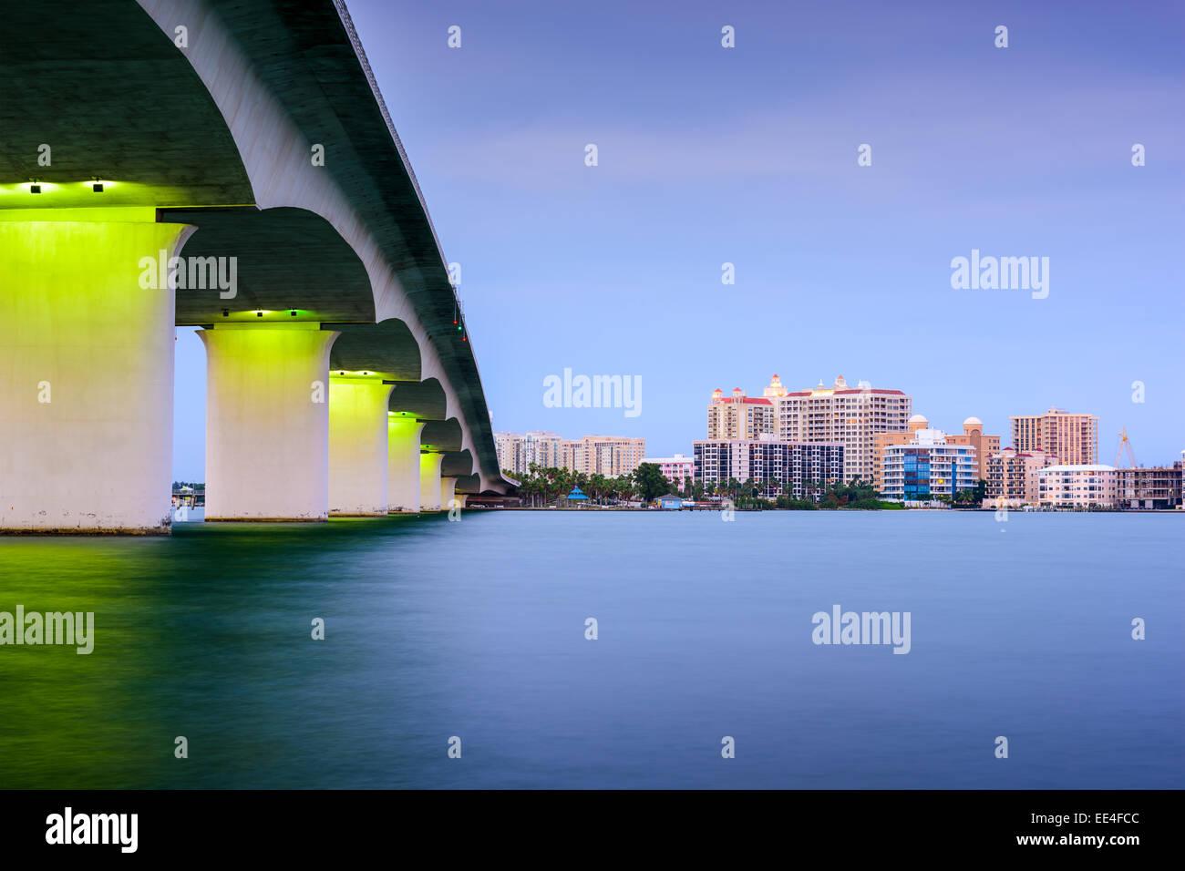 Sarasota, Florida, USA skyline at Sarasota Bay. - Stock Image