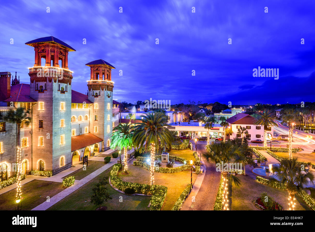 St. Augustine, Florida, USA townscape over Alcazar Courtyard. - Stock Image
