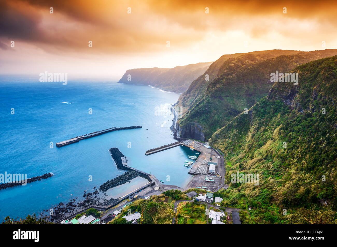 Hachijojima, Island, Tokyo, Japan coastline and harbor. - Stock Image