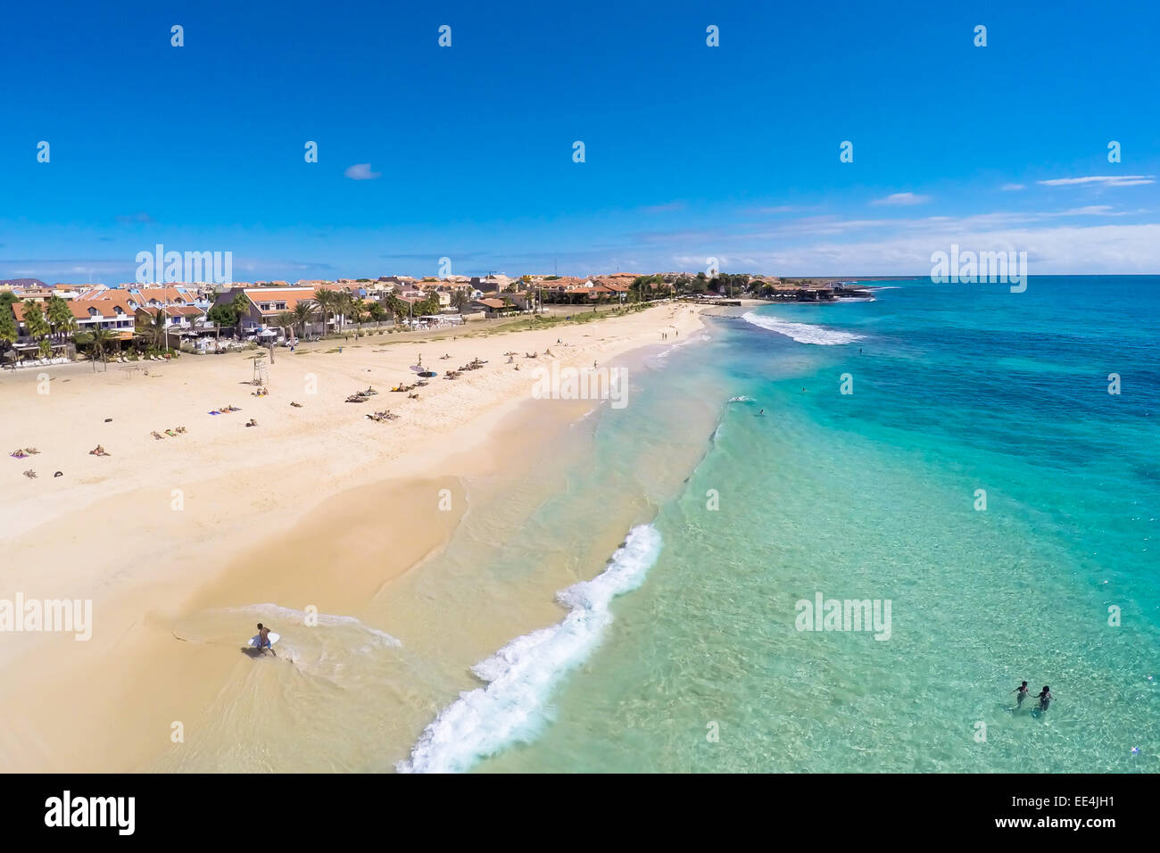 Aerial view of Santa Maria beach in Sal Cape Verde - Cabo Verde Stock Photo