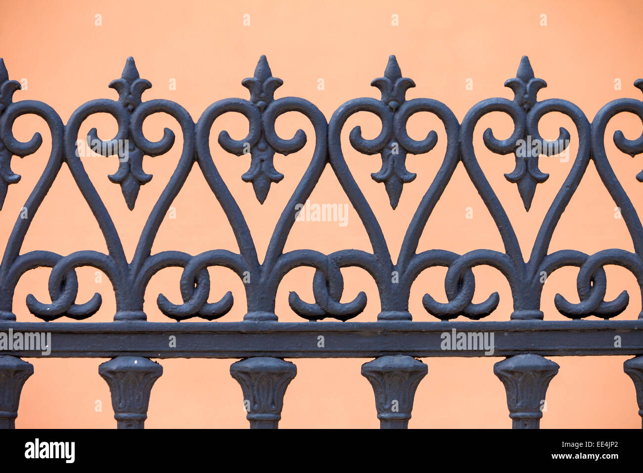 French Quarter, New Orleans, Louisiana.  Cast-iron Railings of the Gauche Villa, Built 1856.  Ironwork produced - Stock Image