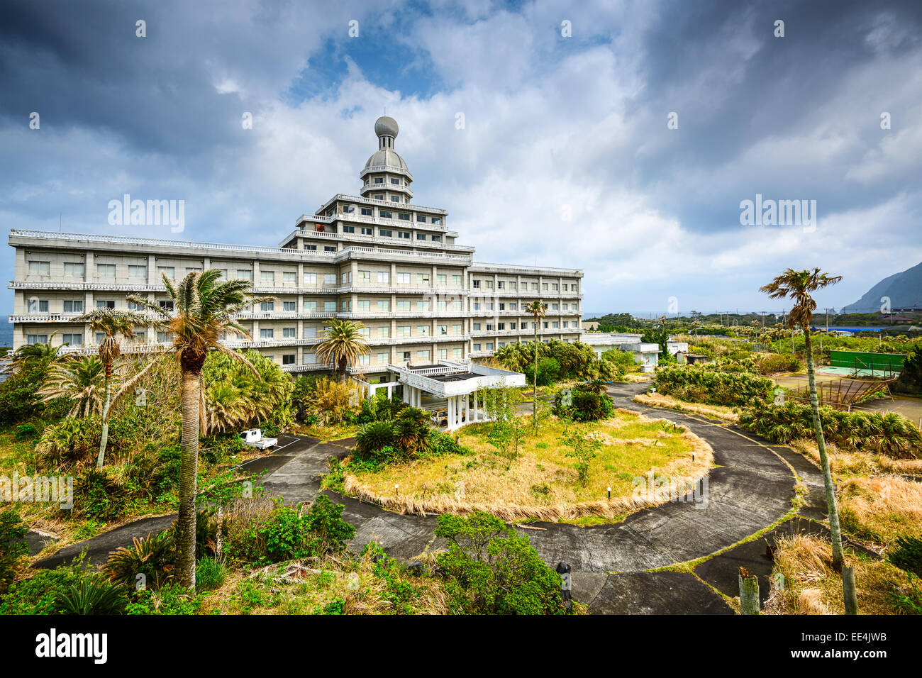 Abandoned hotel building ruins on Hachijojima Island, Japan. - Stock Image