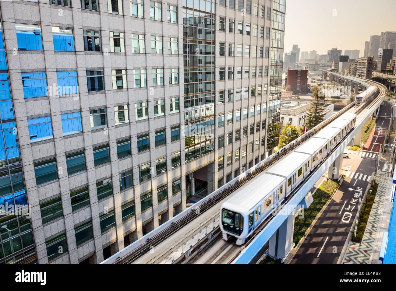 Yurikamome Monorail in Tokyo, Japan. - Stock Image