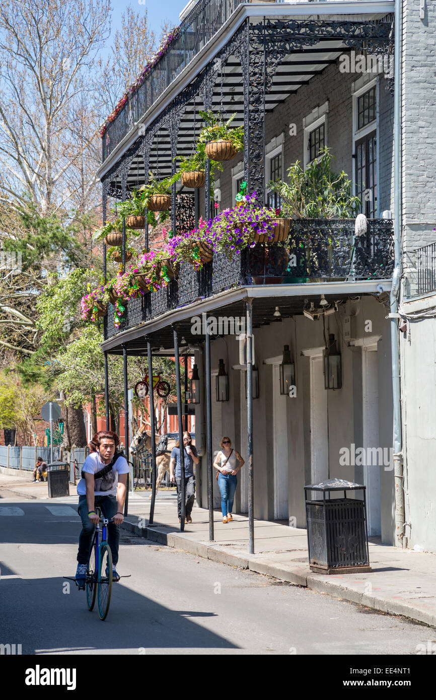 balcony flower baskets French Quarter New Orleans Louisiana Balcony With
