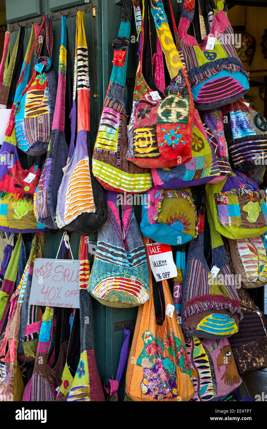 French Quarter, New Orleans, Louisiana.  Handbags and Purses for Sale in the French Market. - Stock Image