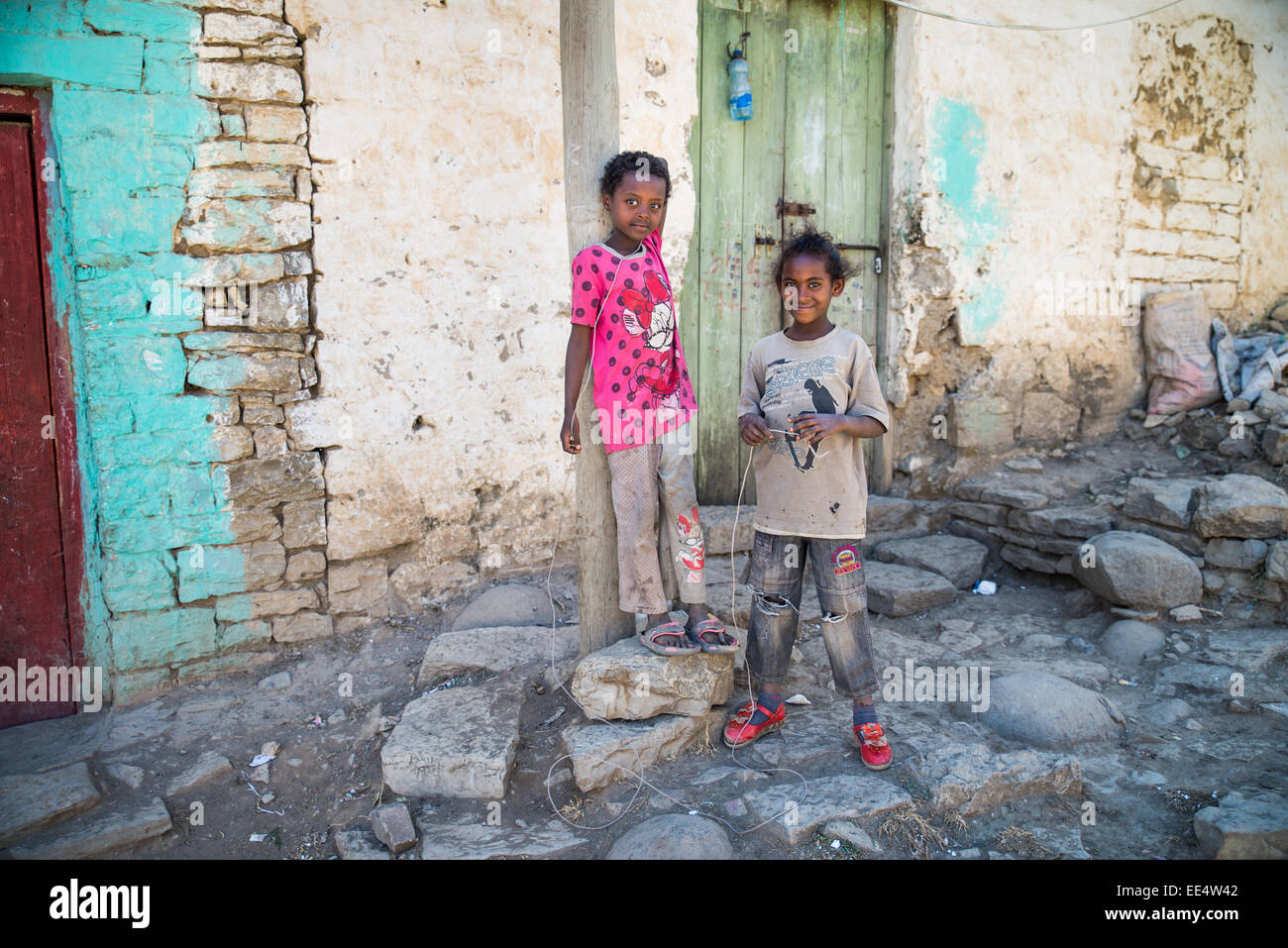 Children in front of the house in Mekele, Ethiopia, Arfika Stock Photo