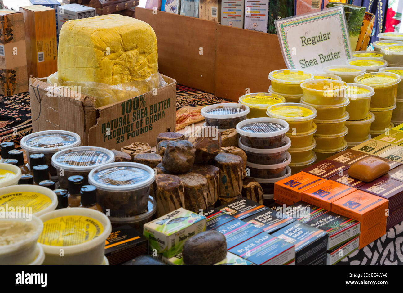 French Quarter, New Orleans, Louisiana.  African Shea Butter and Soaps for Sale in the French Market. - Stock Image