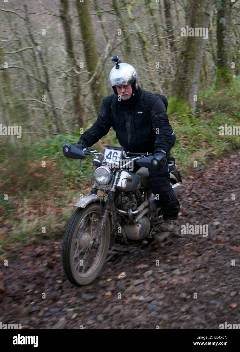 Motorcycle competitors on the Fingle Section of the 2015 Exeter Trial. Stock Photo