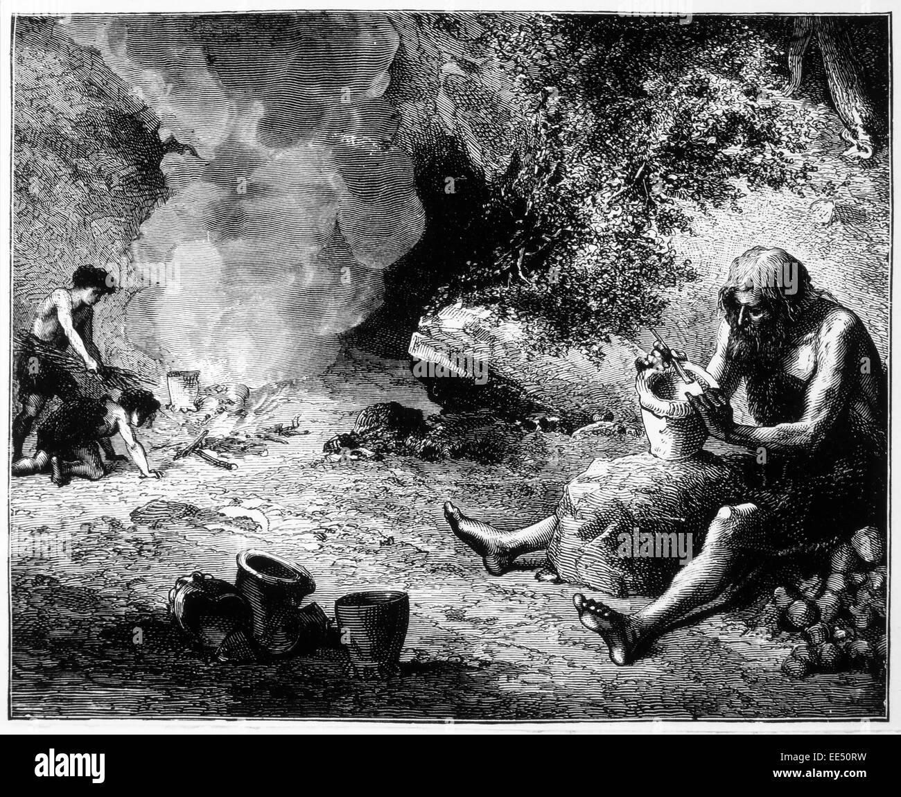 Prehistoric Potter with his Fire, Engraving, 1892 - Stock Image