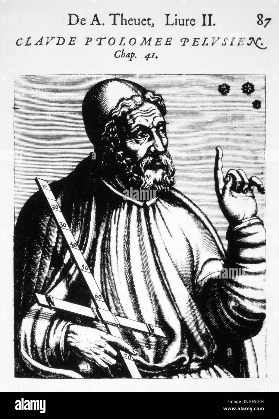 Claudius Ptolemy (90-168 AD), Greco-Egyptian Mathematician and Astronomer, Woodcut from 'Les Vrais Pourtraits - Stock Image