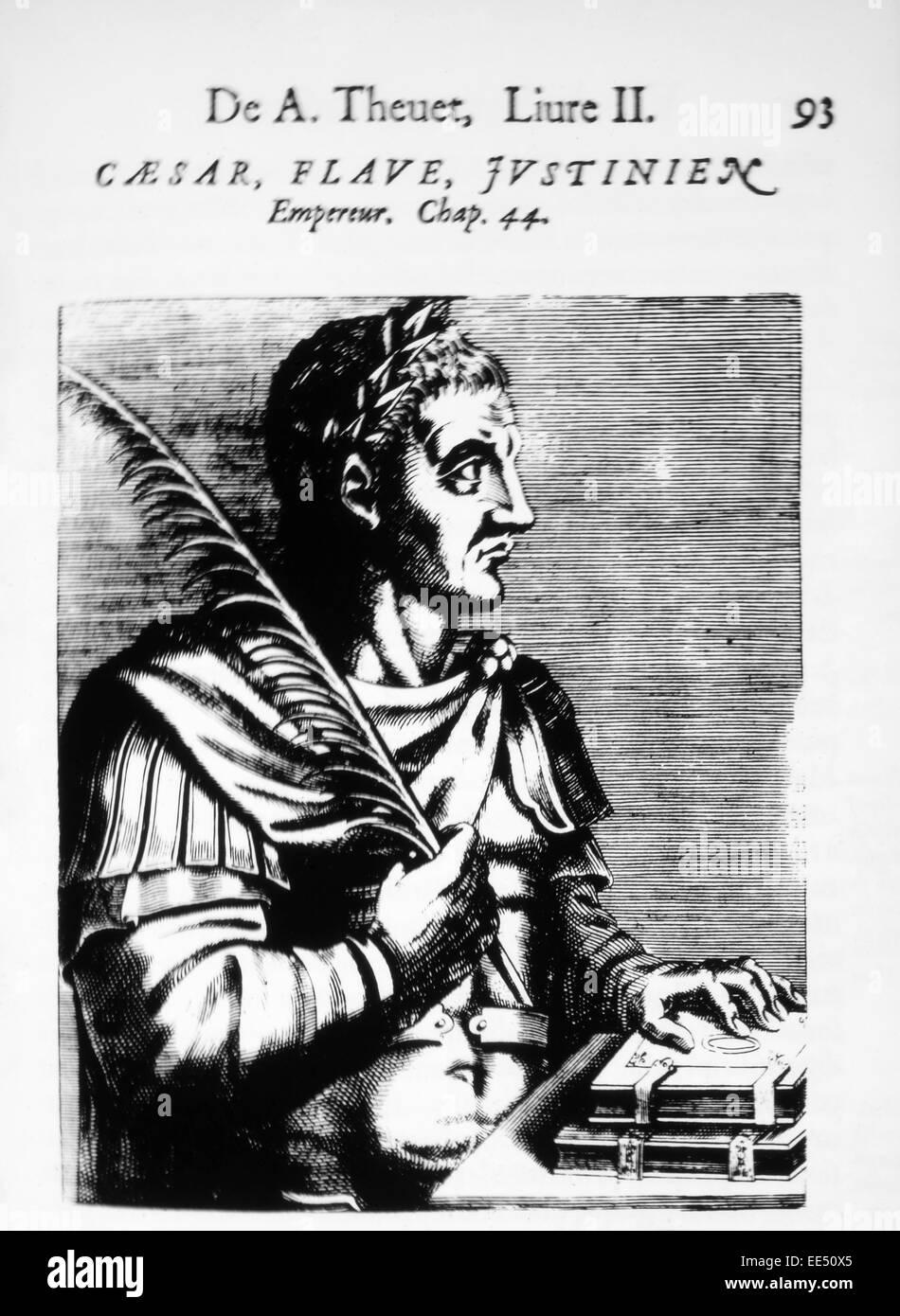 Justinian I (483-565), Byzantine Emperor, Woodcut from 'Les Vrais Pourtraits et vies des Hommes Illustres' - Stock Image