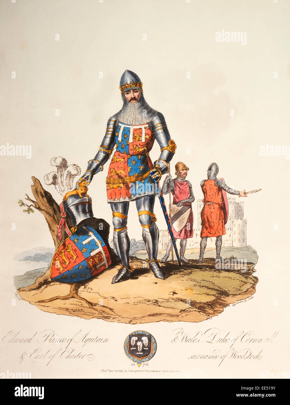 Edward of Woodstock (1330-76), Prince of Aquitaine and Wales, Duke of Cornwall & Earl of Chester, Hand-Colored - Stock Image
